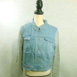 Liz Claiborne Denim Jacket with Ribbed Sleeves  16